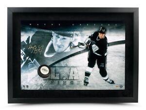 Wayne Gretzky Autographed 16X24 Photo Puck Slap Shot Breaking Through Kings UDA