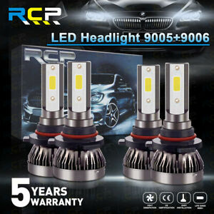 9005+9006 Combo LED Headlight Kits 120W High/Low Beam 4 PCS Bulbs 6000K White