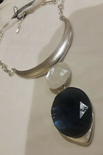Double Drop Frontal Silver Tone Necklace Nwt Robert Lee Morris Geometric Stone