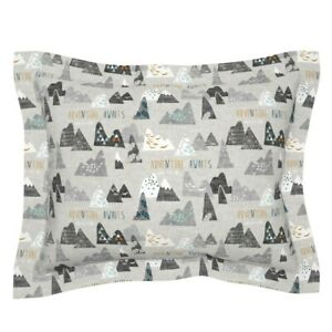 Max' Mountains (Grey) Regular Baby Mountain Adventure Pillow Sham by Roostery