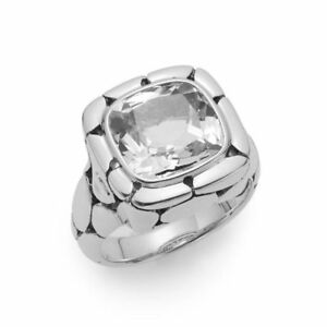 JOHN HARDY Batu Kali White Topaz & Sterling Silver Ring Size 7