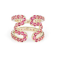 Sabine Getty Pink Topaz Wiggly Ring Estate 18k Yellow Gold Wave Sz 5 Jewelry
