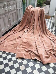 """Superb Vintage Cotton Velvet Curtains Light Terracotta 90""""W x 88""""L, 230x223cm"""