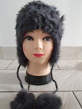 Chapka grise unie bonnet aviateur doux chaud fourrure lapin rabbit neuf ladydjou