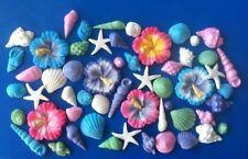 Shimmer Edible Hibiscus Flower, Starfish And Sea ShellsX40 Cake Decorations Luau