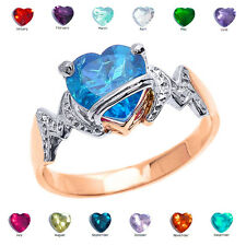 "14k Rose Gold Heart CZ Birthstone ""MOM"" Ring"