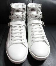 SAINT LAURENT COURT STUDDED HIGH TOP WHITE LEATHER SNEAKERS SIZE 41