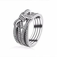 2017 Luxury 925 European Sterling Bow Tie Style Silver Ring Fit Women Size 6-10