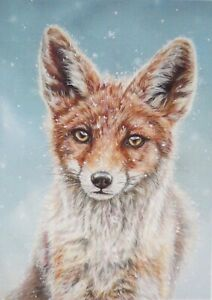 Fox Xmas Card - Wildlife- Blank/Greeting- Animal  Painting by Alison Armstrong