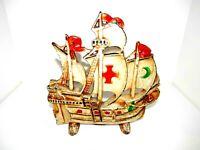 Heavy Vintage Cast Iron Galleon Sailing Pirate Ship Door Stop Antique # 205