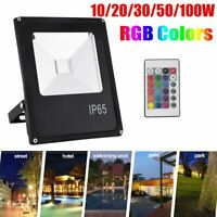 RGB LED Flood Light Outdoor 10W-100W Spotlight Security Lamp Color Change Remote