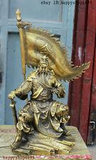 11 China Bronze Copper Dragon Loyalism Guan Gong Yu Warrior God Ling Flag Statue