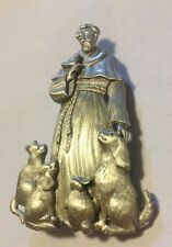 JJ VINTAGE ST. FRANCIS OF ASSISI PATRON SAINT OF ANIMALS PEWTER BROOCH PIN