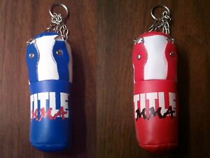 """Title Boxing Mini Heavy Bag 4"""" Keychain Muay Thai MMA Red or Blue Color"""