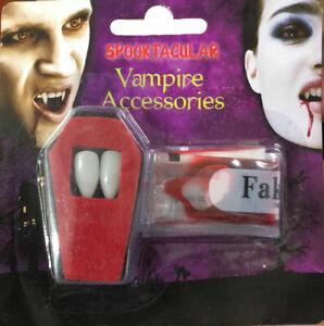 VAMPIRE FANGS CAPS TEETH HALLOWEEN FANCY DRESS FAKE BLOOD PUTTY ADHESIVE 428355