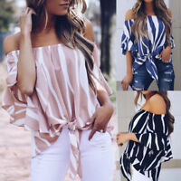 Womens Off Shoulder Crop Tops Ladies Summer Casual Loose Striped T Shirt Blouse