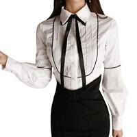 Women Black and White Sleeve Shirts Chiffon Ruffle Collar Bow Tie Button Blouse