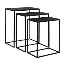 Minimalist Black Iron Nesting Table Set 3 | Open Accent Modern Industrial