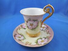 New listing Antique R C Bavaria Botticelli Cup & Saucer Pink Yellow Florals Gold Trim Signed
