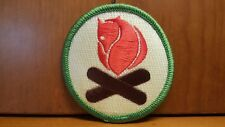 Fjallraven Iron on Patch Circle Red Fox Green Boarder Fire Logs