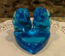 1992 SIGNED LEO WARD BLUE BIRDS OF HAPPINESS ON A HEART GLASS FIGURINE