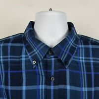 Alan Flusser Blue Check Plaid Mens Dress Button Shirt Size XL
