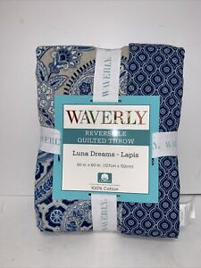 Waverly Reversible Quilted Throw Luna Dreams Lapis New