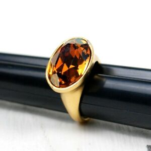 Gold Plated Citrine Oval Ring Size 8.5 Stamped W