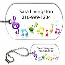 School Band Orchestra Instrument Name Phone Identification Tag Military Dog Tag