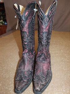 Corral CowGirl Vintage SnipToe Distressed Burgandy/Black Eagle Boots R2390 7M