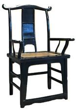 Old Chinese Elm Wood Black Lacquer Ming Yoki Taishi Chair Throne Palace Armchair
