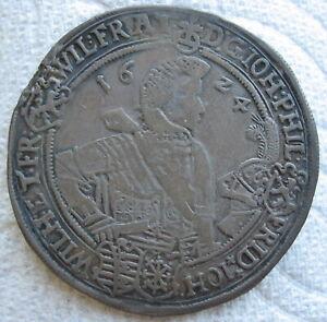 1624 WA German Saxe-Altenburg Silver Thaler (Mount Removed)