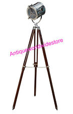 ROYAL INDUSTRIAL DESIGNER CHROME NAUTICAL SPOT LIGHT TRIPOD FLOOR LAMP DECOR
