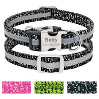 Small Large Nylon Reflective Personalised Dog Collar Custom ID Name Tag Engraved