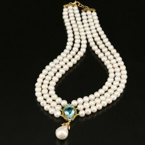 ELEGANT Triple Strand of PEARLS with Sparkling TOPAZ and Ruby Accent
