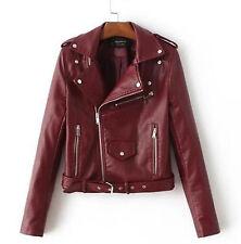 New Women PU Leather Motorcycle Biker Jacket Long Sleeve Casual Coat Outwear