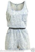 NEW FESTIVAL WEAR Cotton Denim Acid Wash Playsuit Ladies Size 6 8 10 12 14 Play