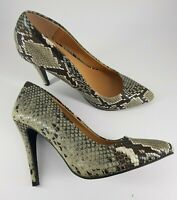 Atmosphere size 5 brown faux leather snakeskin print stiletto heel court shoes