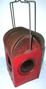 RARE ANTIQUE APPLETON RAILWAY KEROSENE LANTERN METAL GLASS LAMP COMPLETE