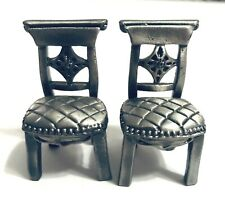 Two Miniature Pewter Dining Room Chairs Formal Furniture Dollhouse Vintage