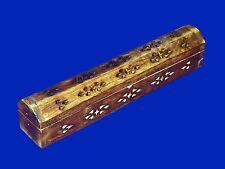 Vtg Hand Carved Wood Hinged Coffin Incense Burner Stick Storage Holder Ash Catch