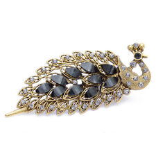 Vintage Peacock Hairpin Hair Clips Lady Girl Crystal Rhinestone Barrette Jewelry