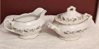 Antique Royal Jackson Fine China Sugar & Creamer Set Fleur De Blanc