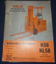 YALE K58 KL58 FORKLIFT PARTS OPERATION INSTRUCTION SHOP MANUAL