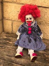 OOAK Sitting Magenta Clown Creepy Horror Doll Art by Christie Creepydolls