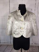 Trina Turk Cropped Jacket Blazer Metallic Silver Herringbone Buttons Size 8