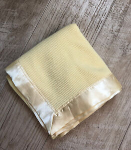 Starting Out Yellow Thermal Waffle Weave Satin Trim Baby Blanket Morgan Style