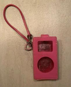 Authentic COACH Pink Leather Apple iPod Case - Wristlet - Strap - Heart Tag -EUC