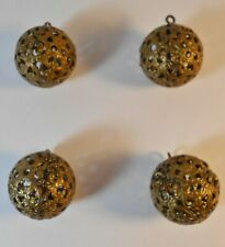 4 Vintage Openwork Filigree Brass Crick Cage Ball buttons