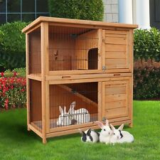 "Pet Cages 37"" Wooden Rabbit Hutch Chicken Coop Hen House Play Sleep Outdoor"